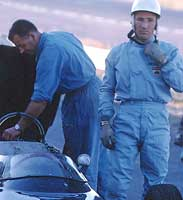 Stirling Moss in early racing suit.